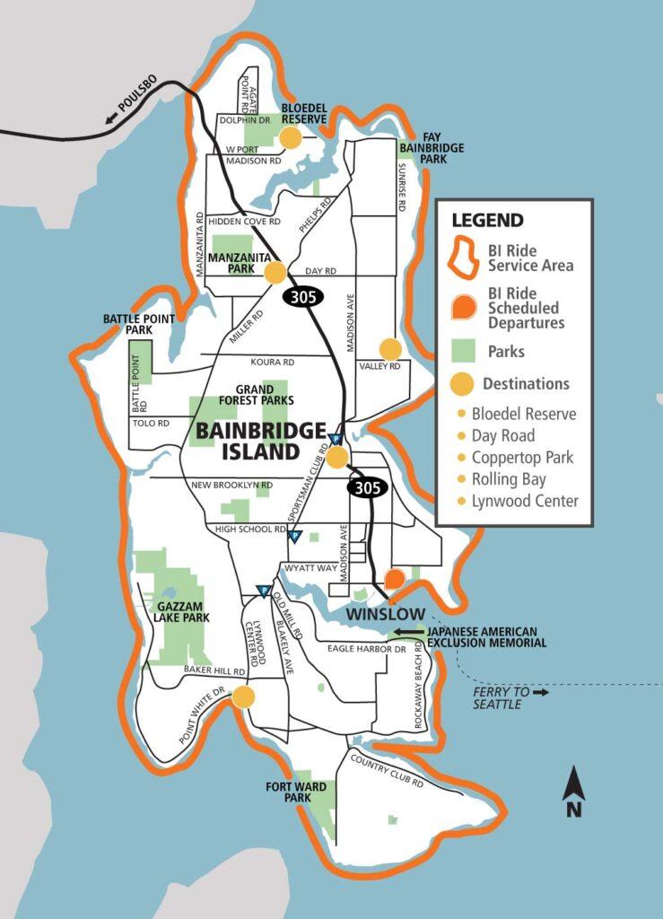 Map of BI Ride service area