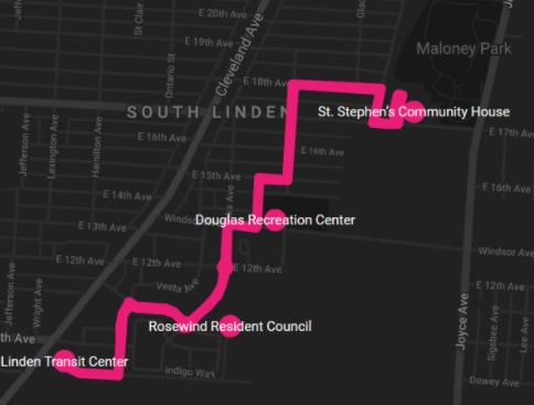 Map of the AV route