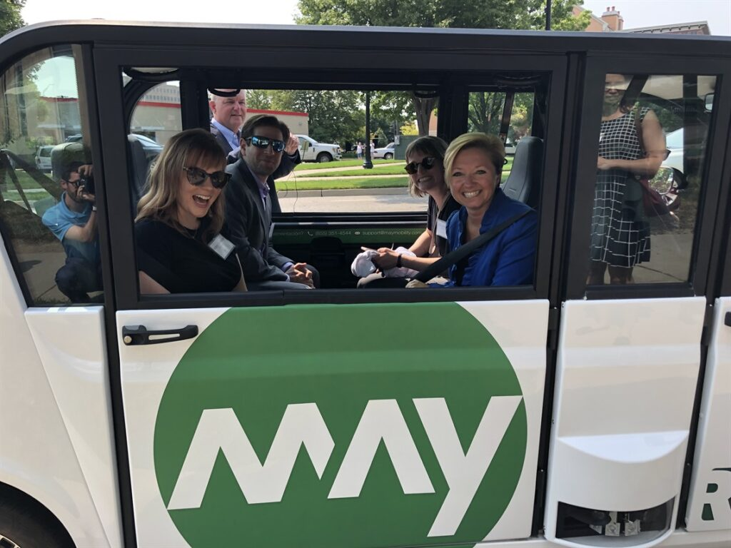 Passengers in Autonomous Vehicle Shuttle-Grand Rapids