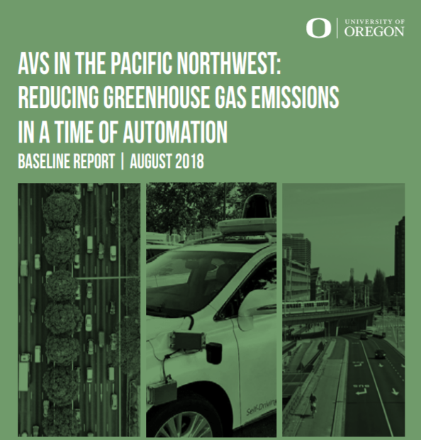Screenshot of cover of New Urbanism Report, AVs in the Pacific Northwest, 2018