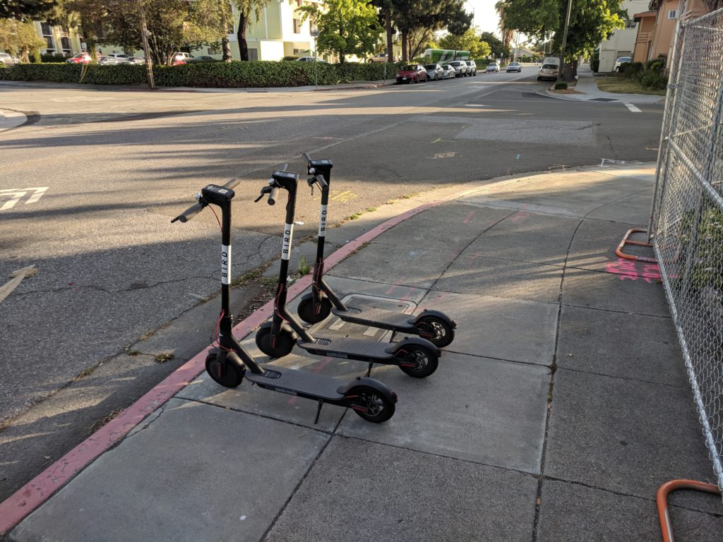 Photo of Bird Scooters parked on the sidewalk