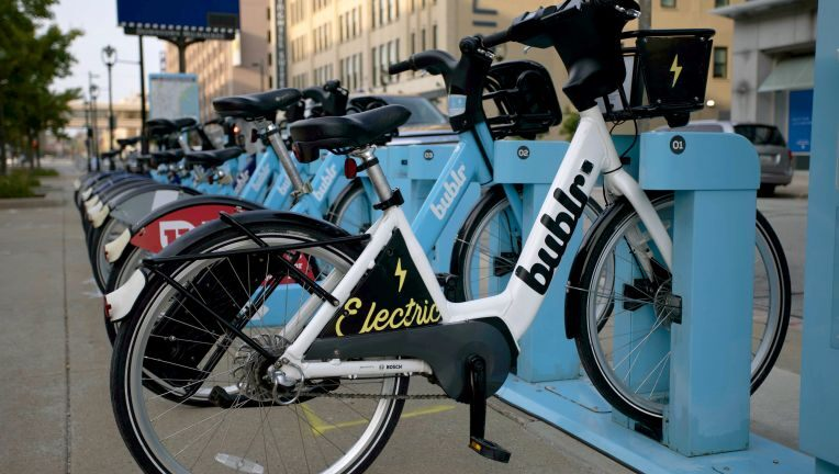Photo of white electric Bublr bicycle
