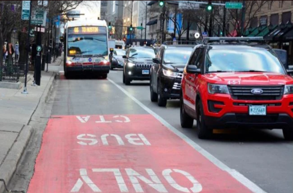 Temporary dedicated red CTA bus only lane