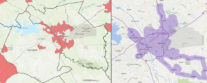 Two side-by-side maps of Columbia area; on left, map of food deserts; on right, map of service area for COMET program