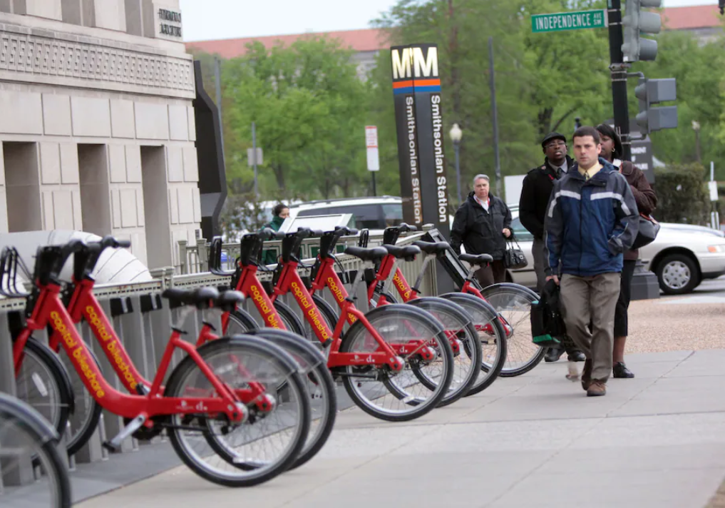 Picture of Capital Bikeshare docking station at a DC Metro station