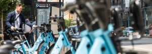 Divvy bikes at docking station