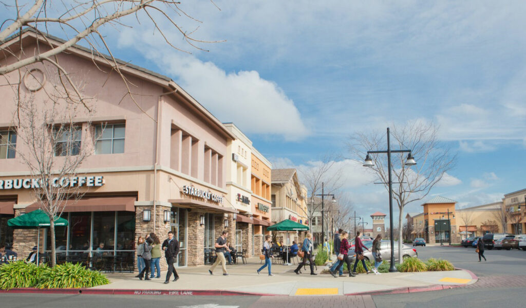 Photo of pedestrians and mixed use retail in Ranchero Cordova