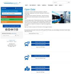 Image of open data page for Community Transit