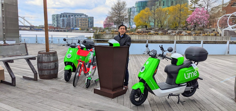 Press conference in Washington, DC announcing Lime Moped program