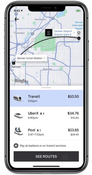 Screenshot of the Uber app