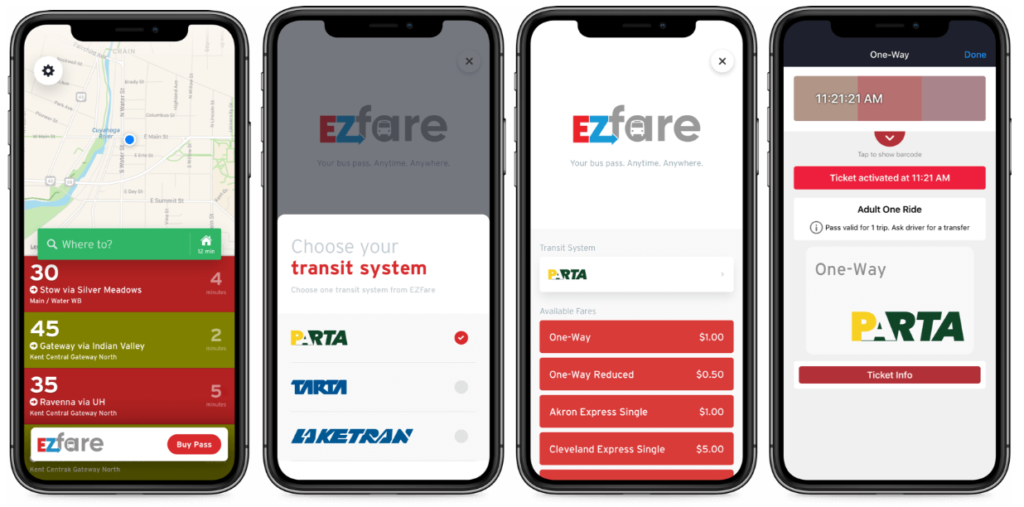Screenshot of the EZfare transit app