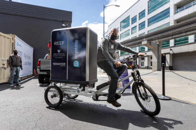 Image of electric tricycle at Seattle Neighborhood Delivery Hub