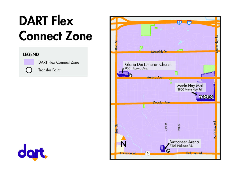 Flex Connect zone map and transfer points