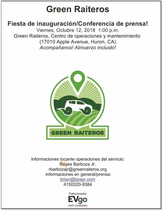 Green Raiteros Marketing Materials