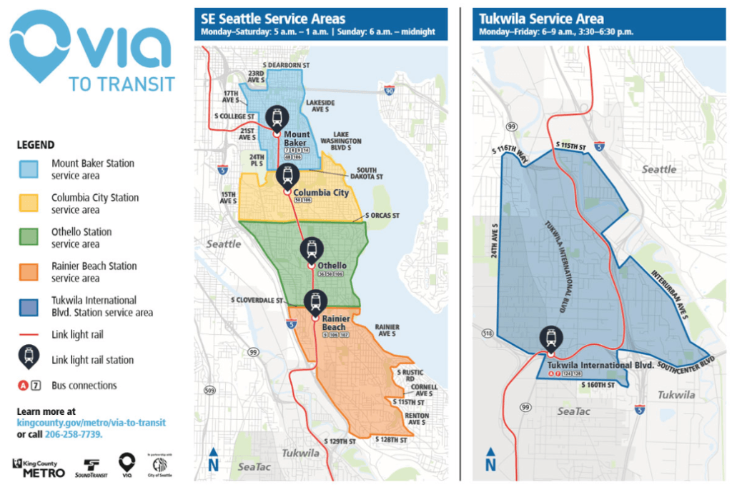 Map of the Seattle Via Service Area.