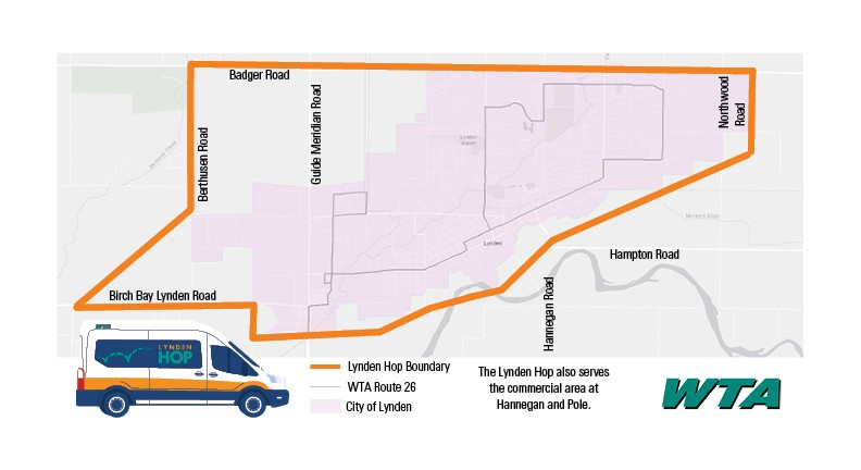 Map of Lynden Hop service area