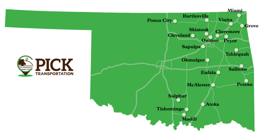 Map of communities participating in PICK Transportation