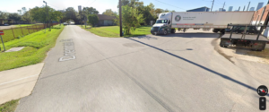 Screenshot from Google Maps of Harrisburg Trail meets Commerce Street with Truck in Path