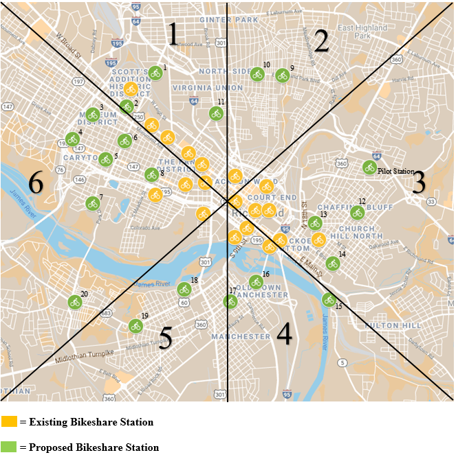 Map of proposed and existing bikeshare stations in Richmond