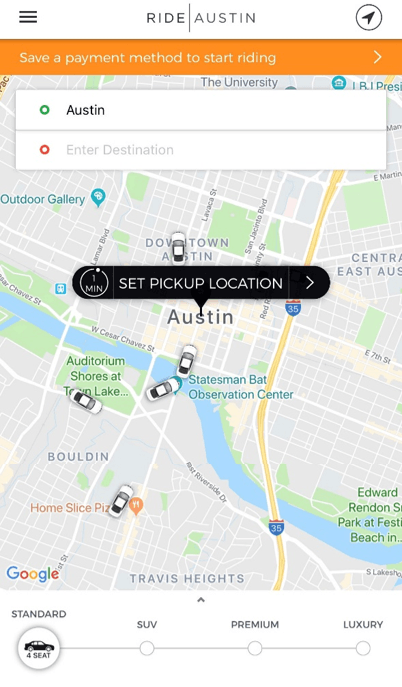 Ride Austin App Screenshot