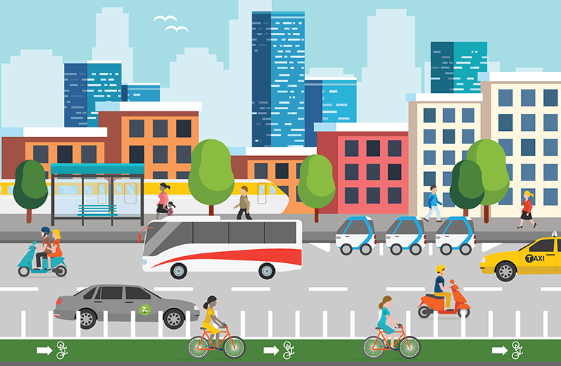 Info graphic showing multi-modal and pedestrian use with city buildings in the background