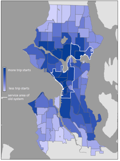 Map showing bikeshare usage in Seattle