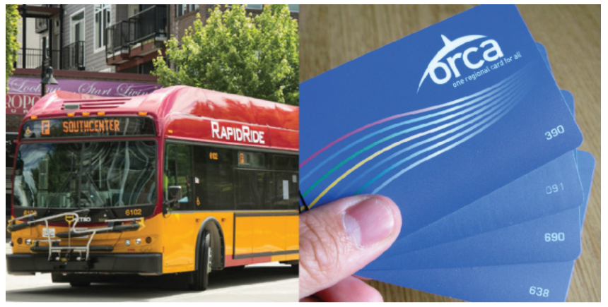 A picture of Seattle's RapidRide hybrid electric bus and public transit ORCA card