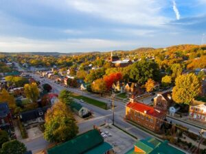 Aerial photo of small town
