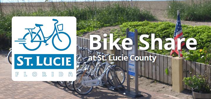Logo of St. Lucie bikeshare program in front of St. Lucie bikes