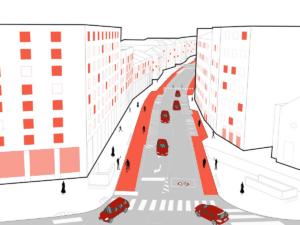Digital rendering of Strade aperte plan in Milan Italy follow COVID crisis