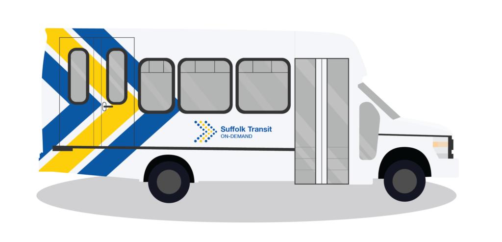 Illustration of Suffolk Transit On-Demand vehicle