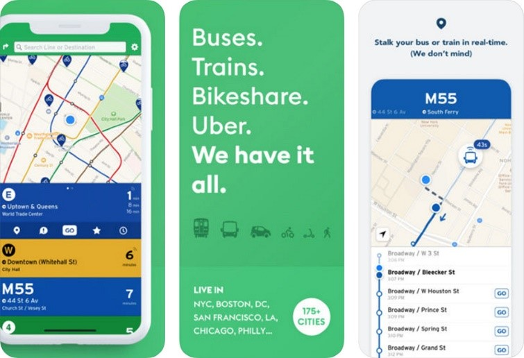 Photo of transit app and a map of service