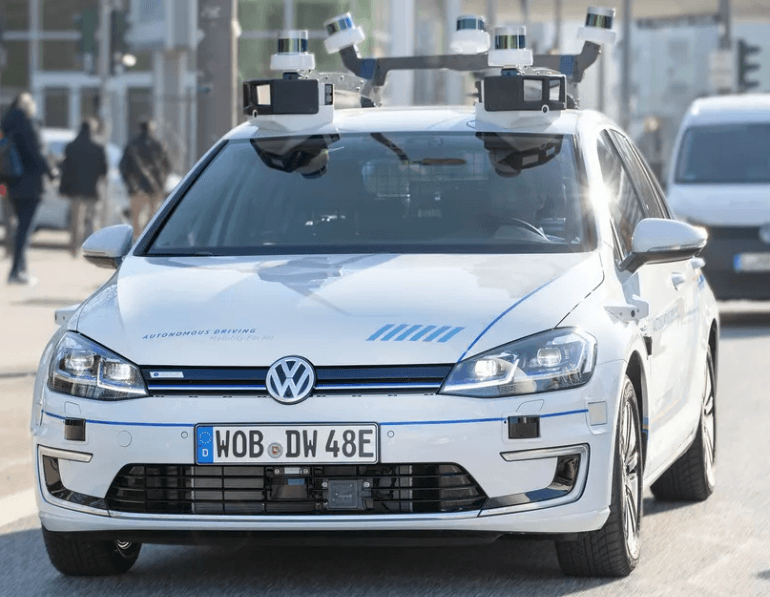 Photo of VW e-Golf used in Hamburg AV pilot with cameras and sensors on board