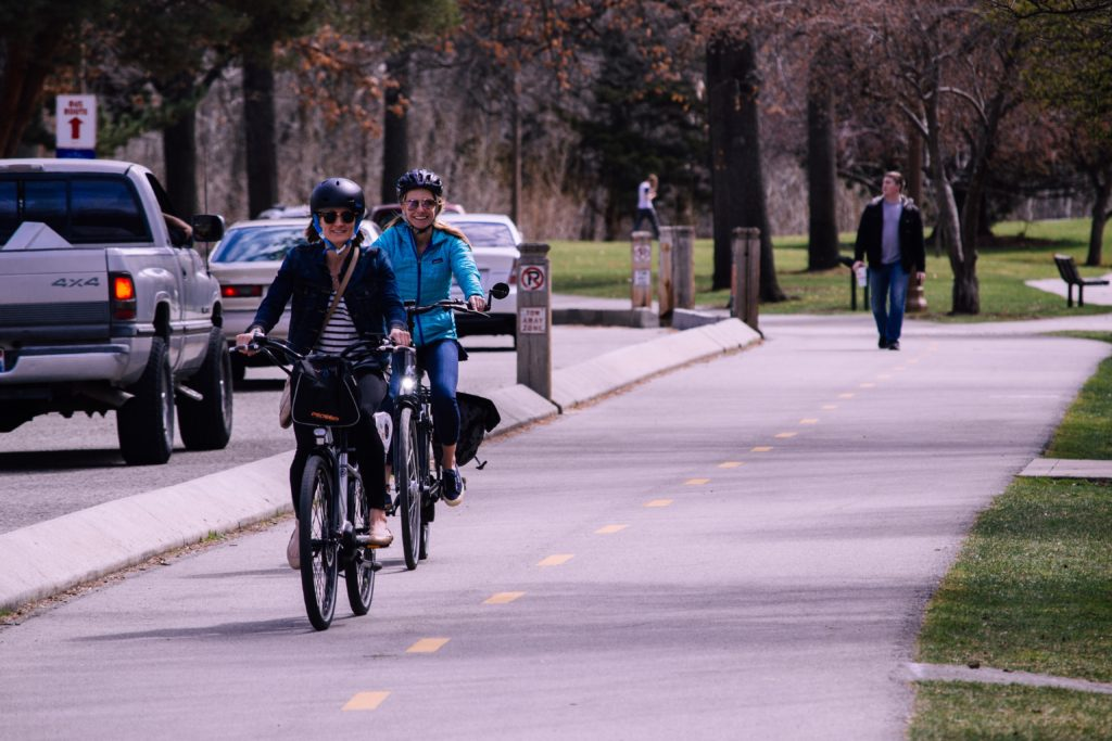 Photo of bicyclists riding in a bike lane