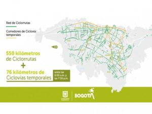Map of Bogota temporary bike lane expansion due to COVID
