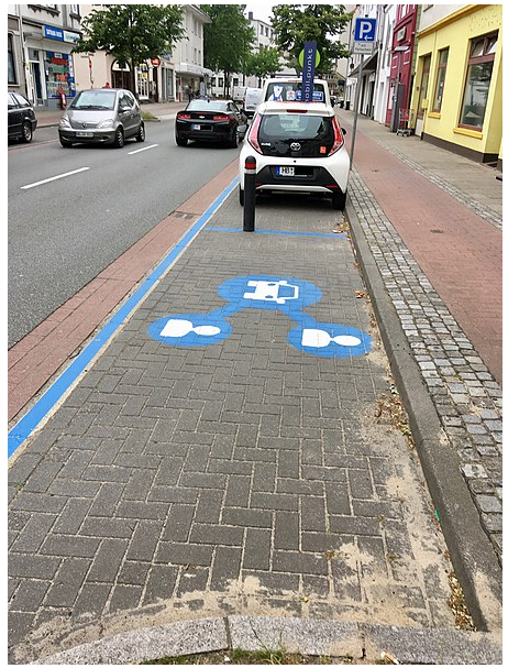 A car-share parking space in Bremen, Germany.