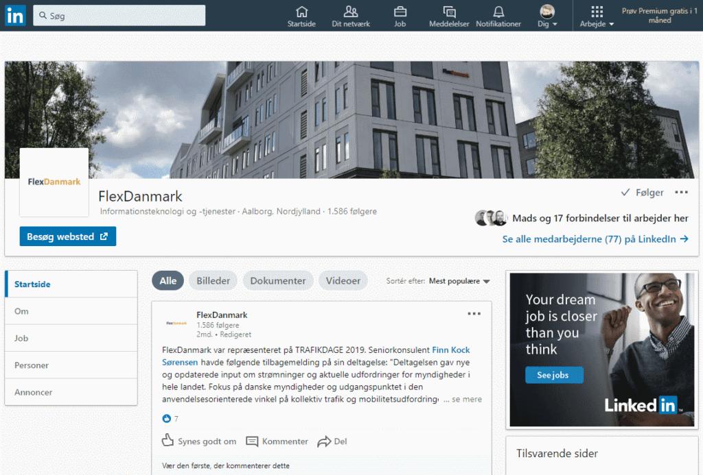 Screen shot of FlexDanmark LinkedIn page