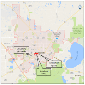 Map of Gainesville AV pilot service area