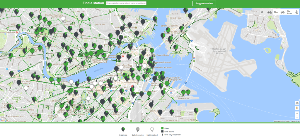 Map of the Hubway locations in Boston