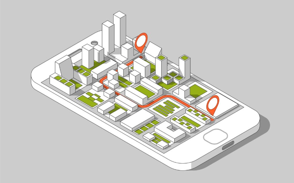 image of phone and 3D city popping out of it