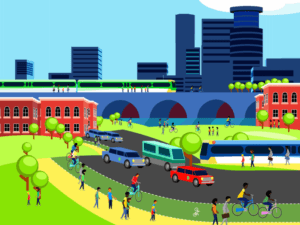 Color rendering of Minneapolis skyline with multi-modal transportation in the foreground