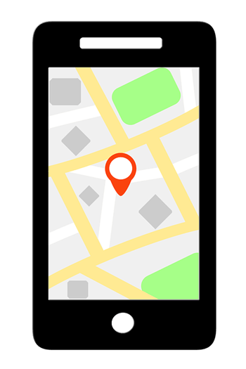 Phone app with geo-fencing shown (drawing)