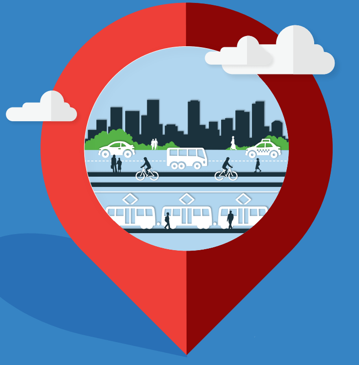 Info-graphic of multi-modes being used and Chicago Skyline in the background.