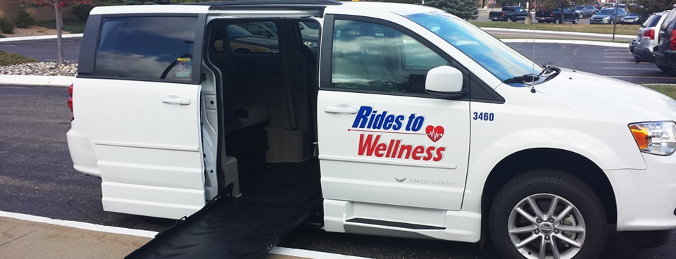 Rides to Wellness van with wheelchair accessible ramp