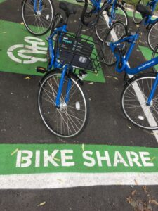 Branded docking hub for hybrid bikeshare system