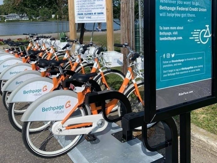 Bethpage Bikeshare dock at beach location